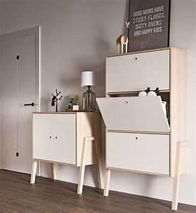 Meuble Chaussure 3 Suisses : meuble chaussures design en bois blanc 3 compartiments ferm s ~ Dallasstarsshop.com Idées de Décoration