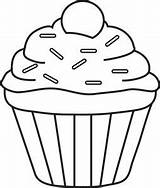 Cupcake Clipart Coloring Pages Drawing Template Outline Cupcakes Colouring Fruit Foodclipart sketch template