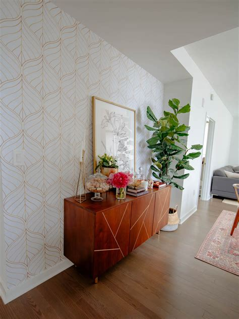 diy accent wall   apply temporary wallpaper   rental apartment katies bliss