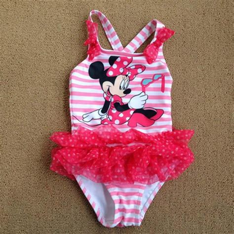retail baby girl  piece swimwear minnie mouse swimsuit