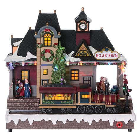 animated christmas village with train illuminated and animated station sales on holyart