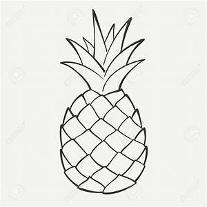 Outline Black And White Image Of A Pineapple Royalty Free ...