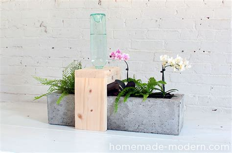 self watering planters diy modern ep49 self watering concrete planter