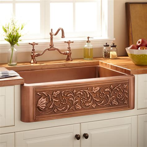 copper farmhouse kitchen sinks 33 quot vine design copper farmhouse sink kitchen