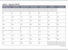 Calendário julho agosto 2018 para imprimir iCalendáriopt