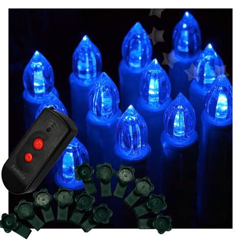 12pcs blue color wireless remote led candle light
