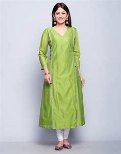 Buy Fabindia Light Green Silk Cotton Anghrakha Mukaish