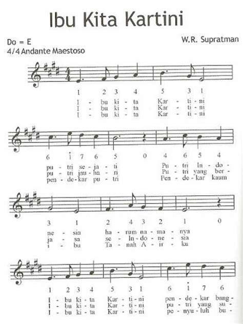 lirik lagu ibu kita kartini beserta not angka not balok partitur lagu tempo lagu