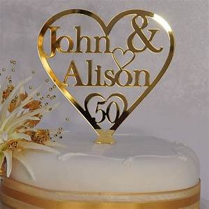 personalised names heart cake topper 50th golden With cake topper 50th wedding anniversary