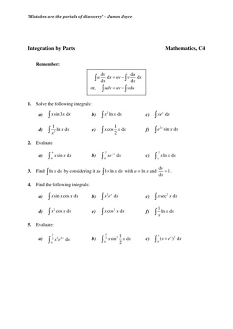 maths ks5 core 4 integration by parts worksheets by chuckieirish teaching resources tes