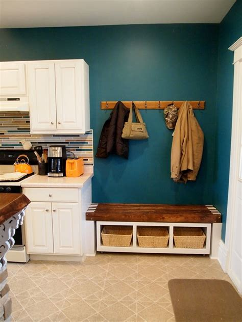 rolling mudroom bench  cubbies reality daydream