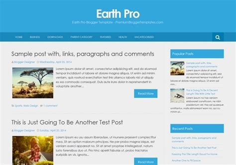 Blog In From Oter Template by Earth Pro Simple Template Templates 2018