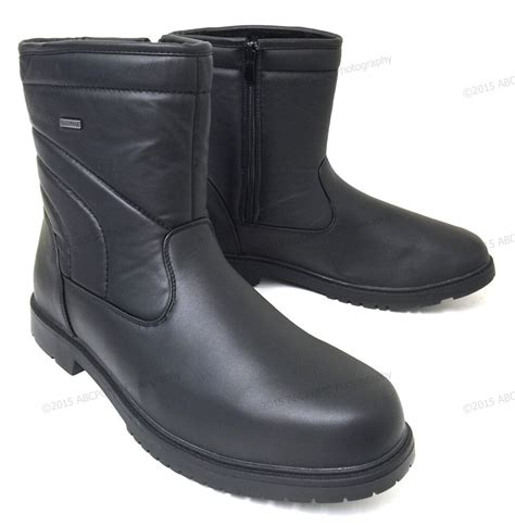 mens winter boots leather ankle warm fur lined zipper