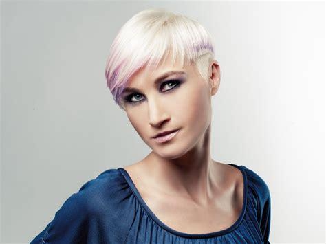 punk style undercut hair blonde   dip  purple