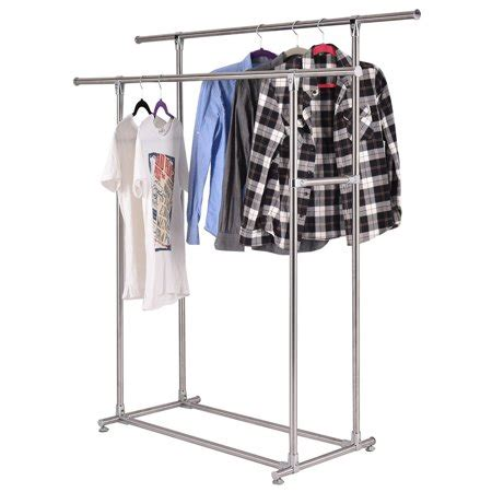 clothes hanging rack walmart heavy duty stainless steel rail garment rack