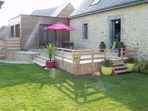 amenagement exterieur construction de veranda terrasse With photo amenagement terrasse exterieur