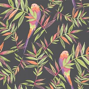 Rasch Parrots Bird Pattern Tropical Leaf Leaves Painted ...