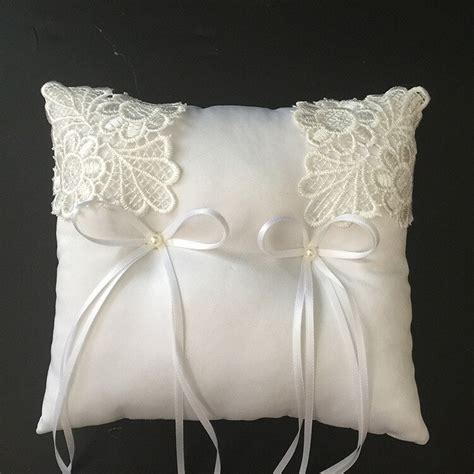 aliexpress com buy unique satin bow knot bridal wedding ring pillow water soluble lace