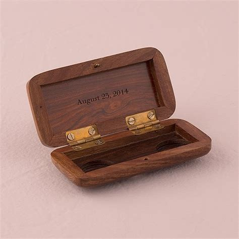 natural charm personalized pocket size wooden wedding ring box garland weddingstar