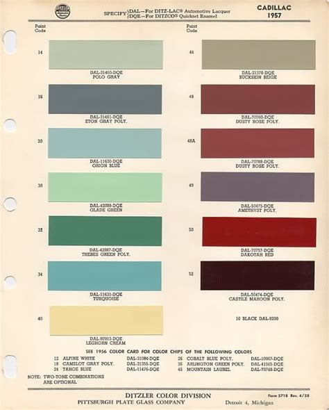 1957 cadillac paint codes polo grey buckskin beige