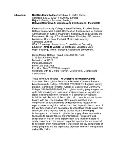 Resume Currently Enrolled by Paralegal Draft Resume Two