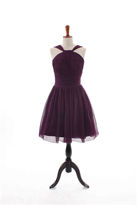 halter neckline knee length bridesmaid dress love