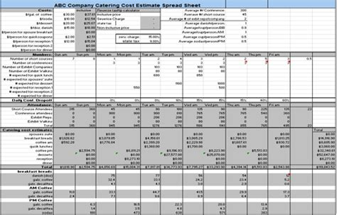 catering pricing template catering estimate spreadsheet png