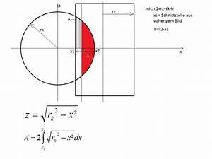 Flächenintegral Berechnen : volumenbestimmung einer kugelkalotte mathelounge ~ Themetempest.com Abrechnung