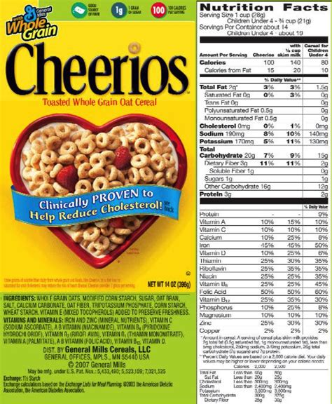 label cuisine cheerios nutrition food label nutrition ftempo