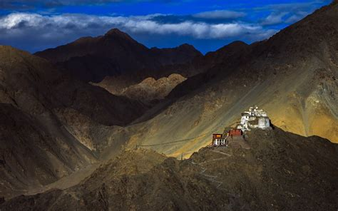 Anime Night Scenery Wallpaper Nature Landscape Mountain Clouds House Hill Tibet China Himalayas Monastery Flag