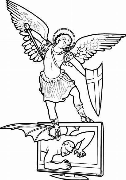 Michael Archangel St Clipart Coloring Saint Pages