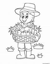 Harvest Coloring Basket Farmer Pages Vegetables Fall Printable sketch template