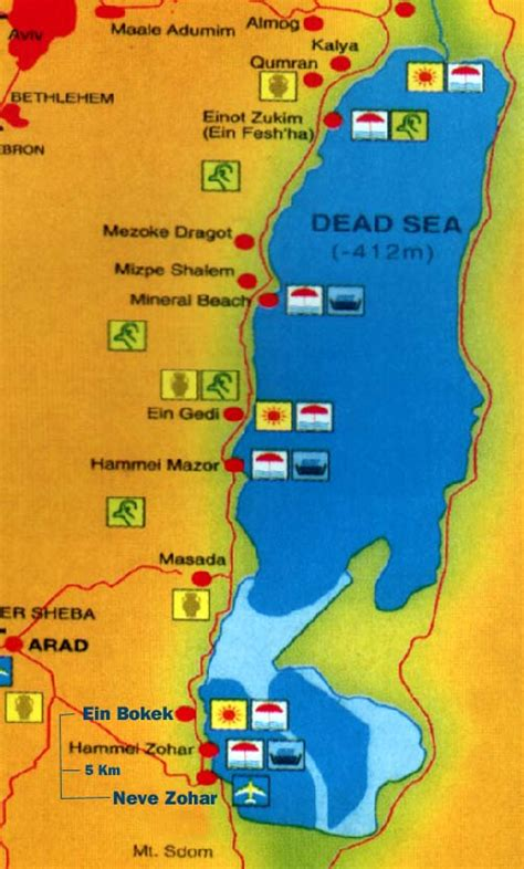 dead sea map  printable maps