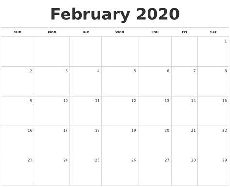 february blank monthly calendar