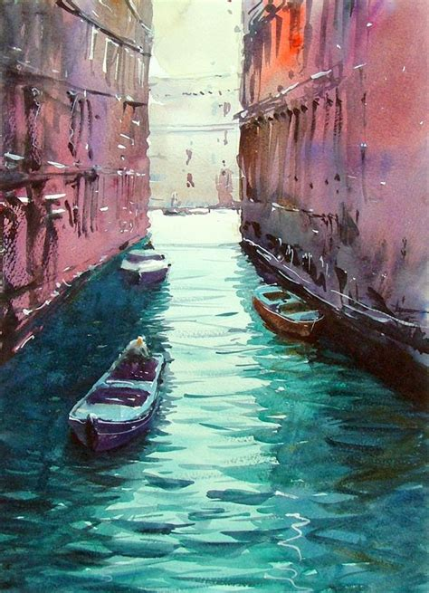 Venice Canal 5 Original Watercolours By Tim Wilmot