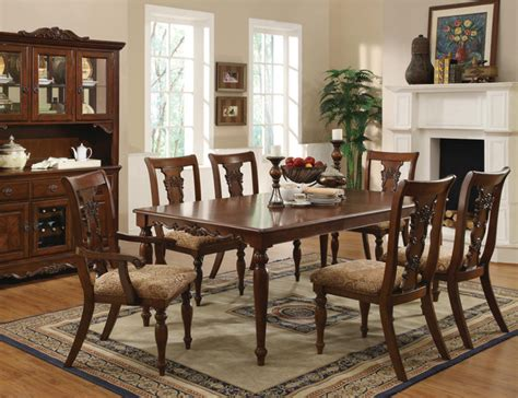 7 pc cherry wood dining room set table chairs fabric seat