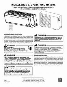 Goodman Mfg Split Type Room Air Conditioner And Heat Pump 000  U002612 User Manual