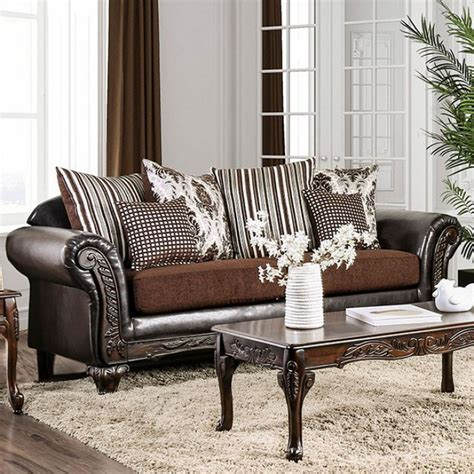 antoinette brown chenille faux leather sofa with exposed