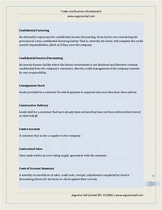 Business finance services a guide to factoring and for Confidential invoice factoring