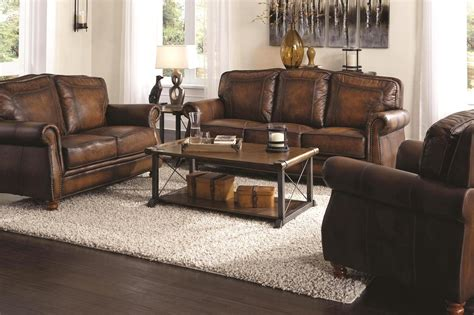 Montbrook Traditional Brown Genuine Leather Sofa Set