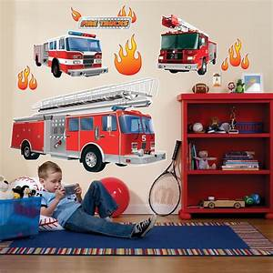 fire trucks giant wall decals birthdayexpresscom With awesome fire truck wall decals