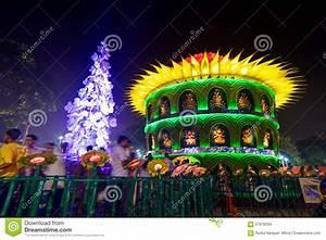 People Enjoying Outside Durga Puja Pandal, Hindu Religious