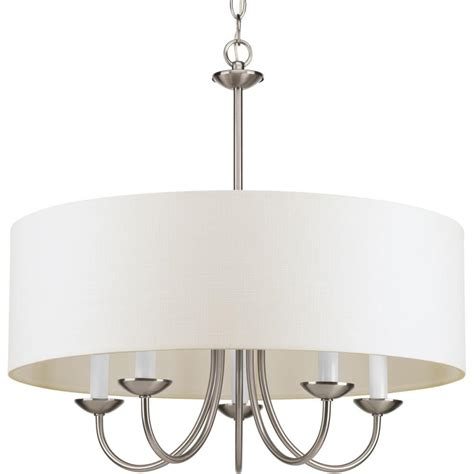 brushed nickel dining room light five light brushed nickel off white glass drum shade