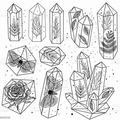 Crystals Gems Vector Line Illustration Rock Stone