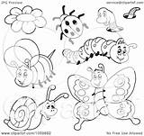 Coloring Insects Collage Outlines Clip Bug Digital Illustration Potato Royalty Pages Clipart Vector Visekart Template sketch template