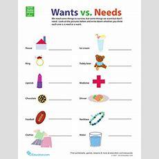Wants Vs Needs  Worksheet Educationcom