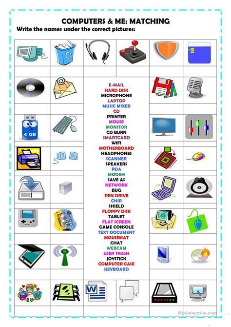 computers matching worksheet  esl printable
