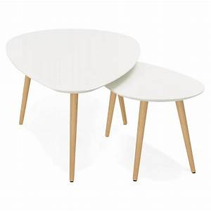 Table Gigogne Scandinave : tables basses design ovales gigognes golda en bois et ch ne massif blanc ~ Teatrodelosmanantiales.com Idées de Décoration