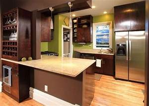 Birch cabinets stained dark walnut with light wood floors