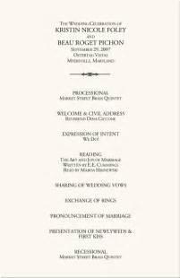 wedding bulletin template wedding programs wedding program wording program sles
